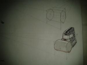 2 point perspective wheel progress, steamroller.