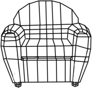 worn leather sofa wireframe